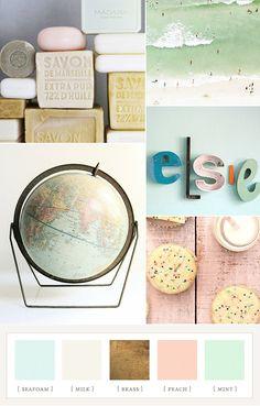 Mint, peach, and brass nursery color ideas | 100 Layer Cakelet