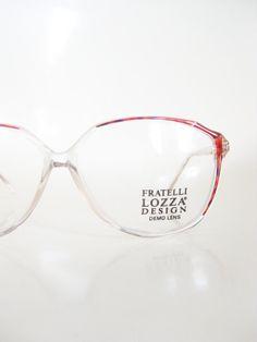 1980s Oversized Granny Chic Glasses Womens Italian Eyeglasses Italy 80s Eighties Glam Rocker Tortoiseshell Clear Transparent Retro Hipster