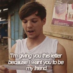 Louis reading a letter written to him by one of the African schoolchildren part 1 {GIF}
