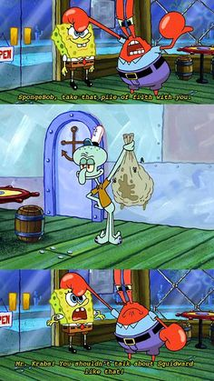 The reason why squidward hates spongebob is because he doesn't have good comebacks to spongebobs roasts 🤣 Really Funny Memes, Stupid Funny Memes, Funny Relatable Memes, Haha Funny, Funny Cute, Hilarious, Memes Humor, Dc Memes, Funny Humor