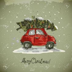 Winter Greeting Card With Red Retro Car, Christmas Tree, Vintage ...