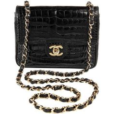 Preowned Chanel Black Crocodile Vintage Mini Classic ($16,000) ❤ liked on Polyvore featuring bags, handbags, shoulder bags, black, chanel shoulder bag, vintage leather handbags, mini crossbody, chain strap crossbody and chanel purses