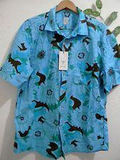 Machay Blue Brown Floral Hawaii Design Mens Button Up Shirt Size XXL NEW