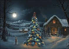 The Spirit of Christmas by Jesse Barnes Christmas Scenes, Christmas Past, Winter Christmas, Cottage Christmas, Country Christmas, Vintage Christmas Images, Christmas Pictures, Winter Scenery, Old Fashioned Christmas