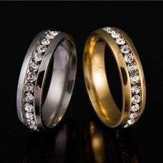 Never Fade Gold Color 316l Stainless Steel Ring Titanium Steel Engagement Wedding Rings For Women Men Jewelry anillos sa924