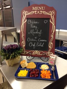 From Opaa! Food Management, Inc. ... with this merchandising example from Clever Middle School. Just like restaurant special, there is a menu board and a complete tray. What do you think of the idea?