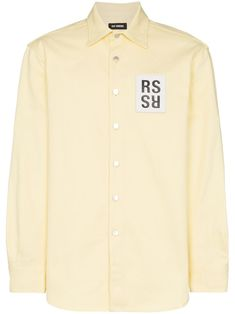 Raf Simons Opening Ceremony Carry Over Slim Fit Denim Shirt In 00017 Yello Fitted Denim Shirt, Youth Culture, Raf Simons, Cotton Logo, Oversized Shirt, Brown Fashion, Paul Smith, Size Clothing, Patches