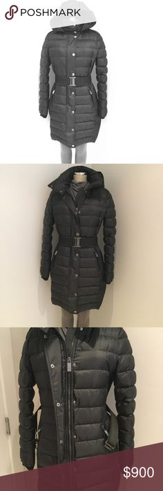 BURBERRY LONDON  ABBEYDALE BELTED DOWN PUFFER COAT BURBERRY LONDON  ABBEYDALE BELTED DOWN PUFFER COAT  Hidden front-zip closure with outer snap placket. Size: EU 46 / US 12.  Long sleeves. Front zip-welt pockets. Detachable hood.  Removable belt. Fully lined, with 100% duck feather fill. 100% polyester. Hand wash cold, line dry.  Made in Romania         SMOKE /  PET FREE ENVIRONMENT Burberry Jackets & Coats Puffers