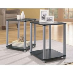 15.5x15.5 $22 for 2 Essential Home End Tables in Black and Silver 2 Table Set