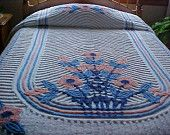 Excellent  double peacock chenille bedspread- yellow with multi colors fits double or queen.