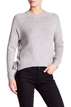 Long Sleeve Side Lace-Up Sweater by John & Jenn on @nordstrom_rack