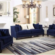 living room design with sofa bed Cheap Living Room Sets, Blue Living Room Decor, Glam Living Room, Formal Living Rooms, Living Room Grey, Living Room Interior, Living Room Designs, Blue And Brown Living Room, Elegant Living Room