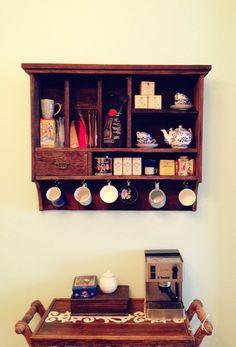 reclaimed wood wall shelf tea coffee storage by