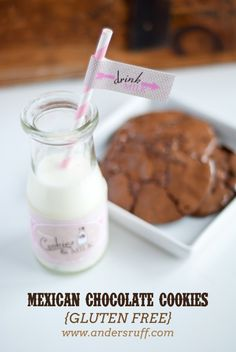 Mexican Chocolate Gluten Free Cookies with Vintage Milk and Cookies printables!