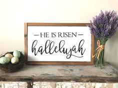 Excited to share this item from my #etsy shop: He is Risen // He is Risen Sign // Easter decor // Easter scripture // Easter sign // scripture sign // hallelujah
