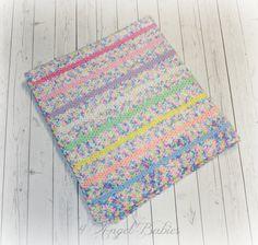 Girls Crochet Large Baby Blanket Rainbow Pastel Stripes New Gift Super Soft Keepsake Crib Afghan Green, Blue, Pink, White, Purple, Orange