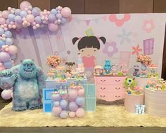 Monster Inc Party, Monster Inc Birthday, Disney Birthday, 3rd Birthday Parties, Baby Birthday, Gold Party Decorations, Party Themes, Monsters Inc Boo, Festa Pj Masks