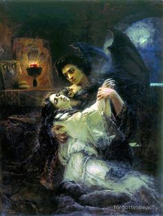 Tamara and Demon : Konstantin Makovsky : Romanticism : literary painting - Oil Painting Reproductions Art Noir, Tableaux Vivants, Baroque Art, Illustration Art, Illustrations, Classical Art, Russian Art, Fine Art, Gothic Art