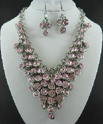 Pink Rhinestones with Rhodium Plating Necklace and Earring Set $29.95... I want this