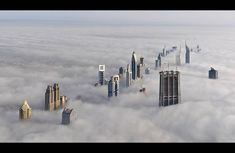 Sheik Zayed road in Dubai taken from the top of the Burj Khalifa, the tallest building in the world.