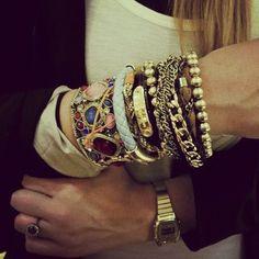 my bracelets + gold casio watch (chumoure)