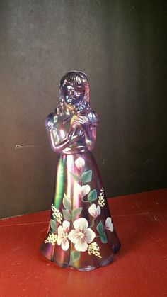 Fenton Girl Woman Teady Bear Dress Purple Carnival USA Flower Signed Nancy Glass | eBay