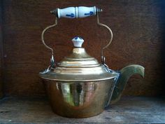Vintage English Brass Kettle with Ceramic Handle by EnglishShop, $59.00