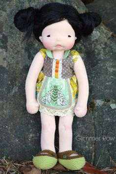 """Raine"" a 20"" natural, waldorf inspired, cloth, art doll by Glimmer Row. Snazzie Drawers dress!"
