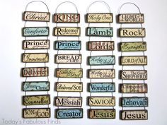 DIY Printable Paint Stick Ornaments: Names and Attributes of Christ.  Absolutely love these!  Could have a tabletop tree themed with these:)
