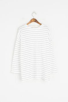 S/S Stripe Tee, Ivory, 100% Cotton