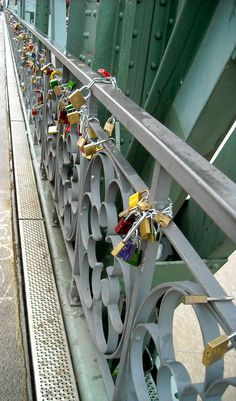 In Frankfurt couples place locks on the bridge over the Main river and throw the key into the water to symbolize their everlasting love <3