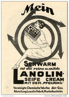 Original-Werbung/Inserat/ Anzeige 1926 : LANOLIN SEIFE ca. 90 x 135 MM