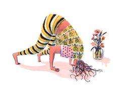 Basic Yoga Postures and their Variations Yoga Illustration, Simple Illustration, Art Prompts, Bear Art, Naive Art, Figurative Art, Illustrations Posters, Cool Art, Art Drawings