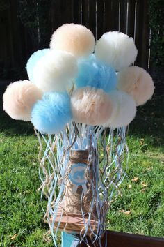 Tulle Pom Pom Wand Party Favors --can make into a Frozen theme