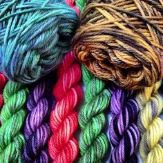 Freshly dyed mini-skeins from Rain Chime Fiber Arts
