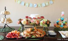 housewarming party food table and cute home sweet home banner
