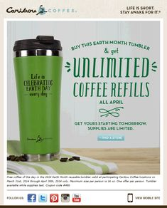 Pinned March 31st: Buy a tumbler get #free #coffee refills all month at Caribou Coffee #coupon via The Coupons App