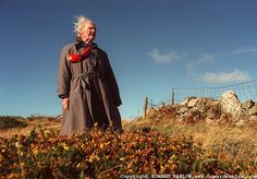 """""""My chief aim is to make a poem. You make it for yourself firstly, and then if other people want to join in then there we are."""" ~R.S. Thomas [pictured at his home on the Llyn Peninsula, Wales,1997; photo by Howard Barlow]"""