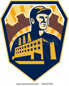 Illustration of a factory worker with factory building and mechanical gear cog in background set inside shield crest done in retro style.