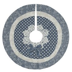 Cottage Chic Blue and Ivory Christmas Tree Skirt
