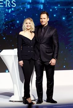 """Jennifer Lawrence and Chris Pratt attend the press conference of film """"Passengers"""" on December 17, 2016 in Beijing, China."""
