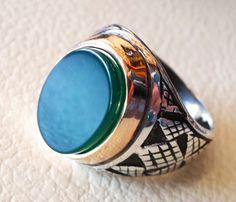 anillo de ágata verde aqeeq plata esterlina 925 vintage antiguos hombres joyas de estilo otomano árabe cualquier tamaño rápido envío oval piedra gema