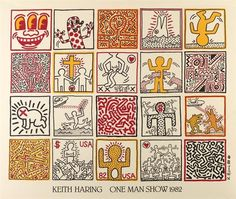 Artwork by Keith Haring, ONE MAN SHOW, Made of Offset color lithograph