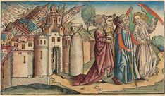 Sodom and Gomorrah from the Nuremberg Chronicle, Michael Wolgemut 1493 Bayerische Staatsbibliothek ~ Bibliothèque Infernale (late Gothic Theme and Work) Hades, Lot's Wife, Westerns, Sodom And Gomorrah, Medieval Manuscript, Bible Stories, Statue, Middle Ages, Jordan Spieth