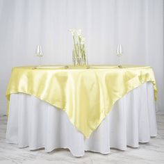 x Yellow Seamless Satin Square Tablecloth Overlay table yellow x Yellow Seamless Satin Square Tablecloth Overlay Rainbow Wedding Decorations, Paper Decorations, Flower Decorations, Parties Decorations, Satin Color, Satin Fabric, Square Tables, Round Tables, Table Overlays