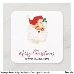 Vintage Retro Jolly Old Santa Claus Christmas Square Business Card Christmas Squares, Business Cards, Retro Vintage, Merry, Santa, Candles, Lipsense Business Cards, Visit Cards, Carte De Visite