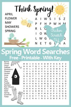 Free and printable PDF Spring word searches. Print enough to keep the kids busy while you scrub the mud off the ceiling. Available in an easy and hard version Spring Word Search, Easy Word Search, Kids Word Search, Rhyming Activities, Craft Activities, Preschool Crafts, Printable Puzzles, Free Printables, Spring Words