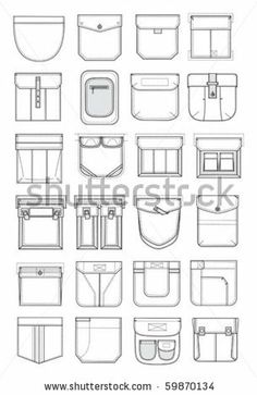 pockets for shirts and pants by grafnata, via ShutterStock Flat Drawings, Flat Sketches, Fashion Design Template, Fashion Templates, Fashion Design Drawings, Fashion Sketches, Couture Details, Fashion Details, Sewing Pockets
