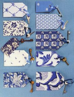 Blue and White Pattern Gift Tags