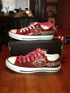 I'm going to bling out my chucks like this Niners Girl, Sf Niners, Forty Niners, 49er Shoes, 49ers Nation, 49ers Fans, Nfl 49ers, Best Football Team, Football Stuff